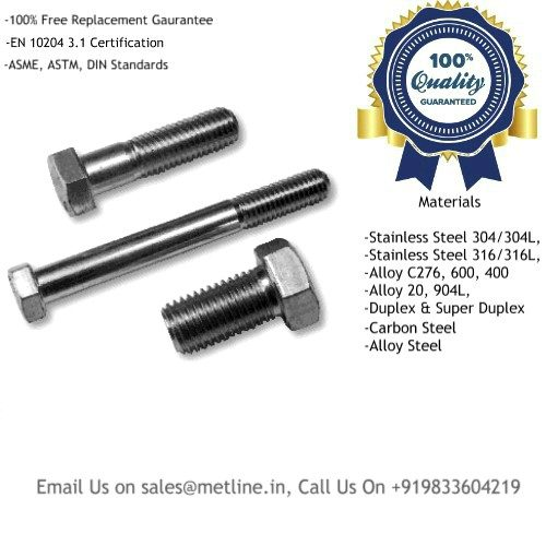 Titanium Hex Head Bolts & Screws Manufacturers, Suppliers, Factory