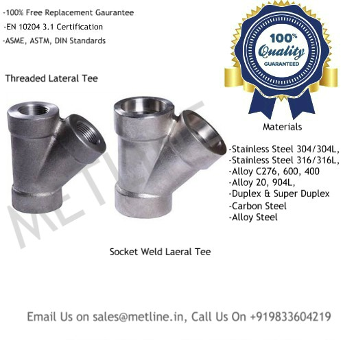Lateral Tee Y Type Tee Manufacturers, Suppliers, Exporters