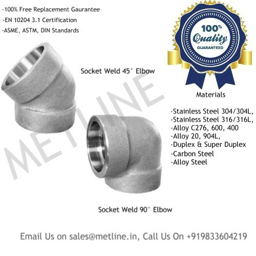Socket Weld Elbow Manufacturers, Suppliers, Exporters