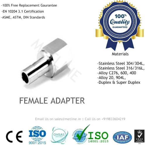Female Adapter Manufacturers, Suppliers, Factory - Instrumentation Tube Fittings