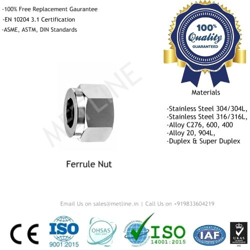 Ferrule Nut Manufacturers, Suppliers & Factory - Instrumentation Tube Fittings