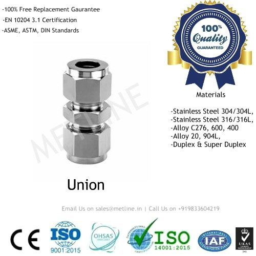 Ferrule Union Manufacturers, Suppliers, Factory - Instrumentation Tube Fittings