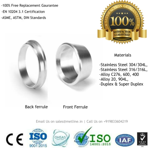 Front Ferrule & Back Ferrule Manufacturers, Suppliers, Factory - Instrumentation Tube Fittings