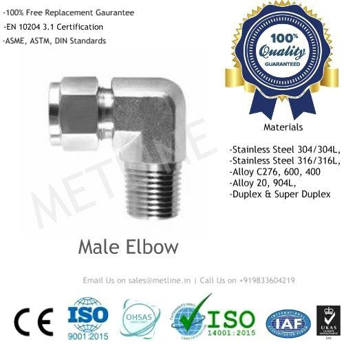 Male Elbow Manufacturers, Suppliers, Factory - Instrumentation Tube Fittings