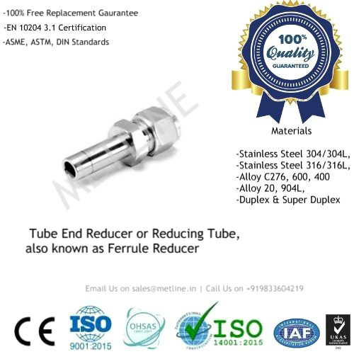 Tube End Reducer, Reducing Tube & Ferrule Reducer Manufacturers, Suppliers & Factory - Instrumentation Tube Fittings