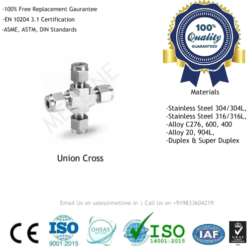 Union Cross Manufacturers, Suppliers, Factory - Instrumentation Tube Fittings