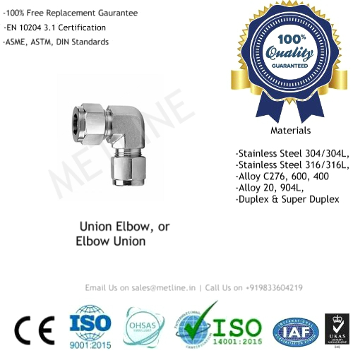 Union Elbow Manufacturers, Suppliers, Factory - Instrumentation Tube Fittings